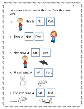 Short a, Early and Emergent Reader: Cat, hat, sat! (Interactive) Booklet