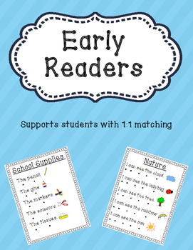 Early Readers - 1:1 Matching - Emergent Reader