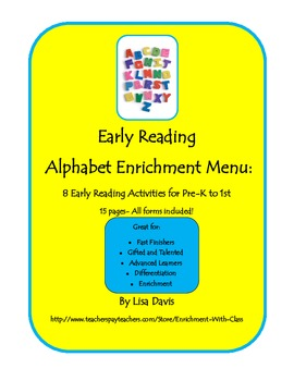 Early Reading Alphabet Enrichment Menu Packet with 8 Activities for PreK- 2
