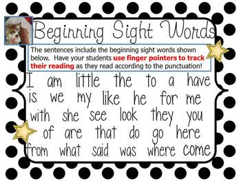 Early Reading Cards~ Beginning Sight Words
