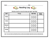Early Reading Log