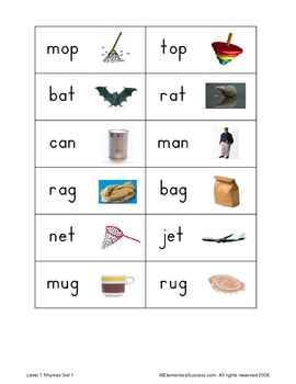 Early Reading Rhyming Practice