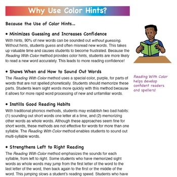 Reading With Color: Teacher's Guide and List of 300+ Words with Hints