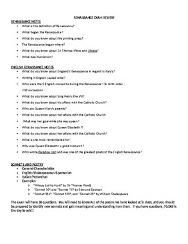 Early Renaissance Review Sheet with Answer Key