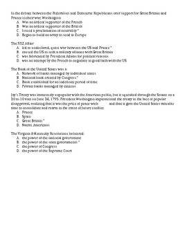 Early Republic Test Bank Questions