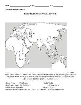 Early River Valley Civilization Worksheet Map To Label And Questions