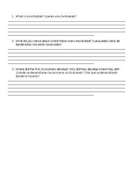 Early River Valley Civilization Worksheet/ Map to Label and questions