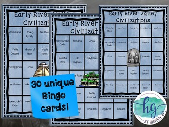 Early River Valley Civilizations Bingo{Mesopotamia, Egypt, China, India}