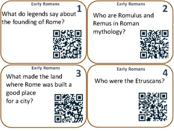 Early Rome QR Code Task Cards - Common Core Research