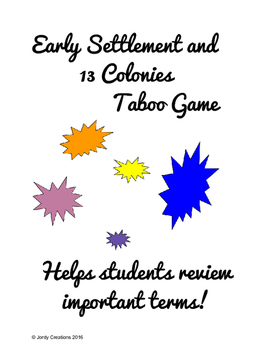 Early Settlement and 13 Colonies Taboo Game
