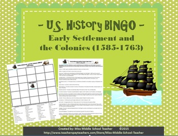 Early Settlement and the Colonies BINGO (1865-1877)