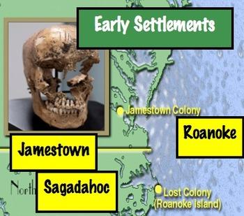 Early Settlements: Case Study - Sagadahoc, Roanoke, Jamestown Common Core Ready