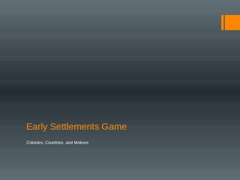 Early Settlements Review Game