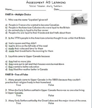 Early Settlers Assessment As Learning