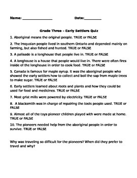 Early Settlers Quiz