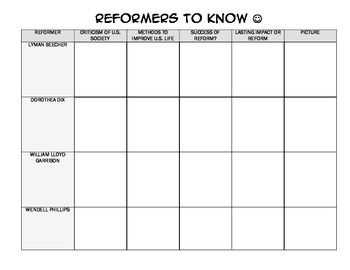 Early Social Reformers Graphic Organizer