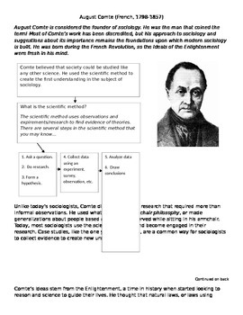 Early Sociologists Worksheets