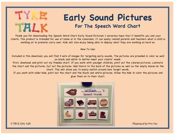 Early Sound Pictures for Speech Word Chart- initial P, initial M, and CV words