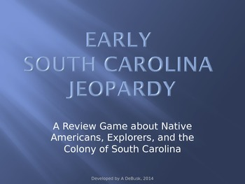 Early South Carolina History Jeopardy Review Game (Explore
