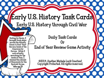 Early US History Important People Task Cards United States of America