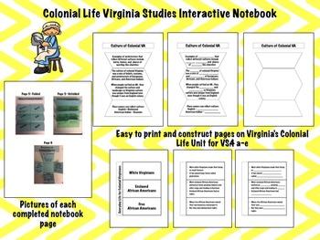 Early Virginia Interactive Notebook Virginia Studies BUNDLE