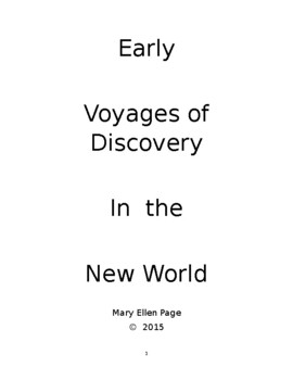 Early Voyages of Discovery in the New World
