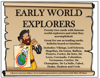 Early World Explorers 22 Fact Cards, Bulletin Board, Time