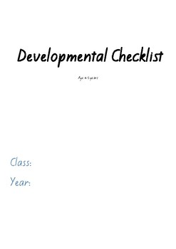 Early Years Developmental Checklist