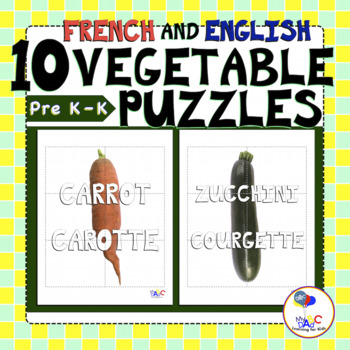 Vegetable Puzzles English and French Learning for Kids