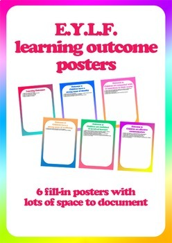 Posters + documents: Early Years Learning Framework (EYLF) Learning Outcomes