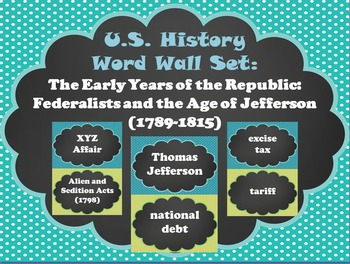 Early Years of the Republic: Federalists and Age of Jefferson Word Wall Set