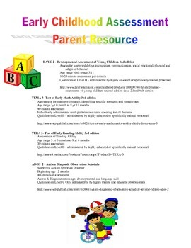 Early childhood assessment parent resource