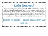 Early finisher bins (labels only)