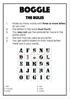 Early finishers: Boggle