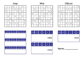 Early finishers - Sudoku and Countdown