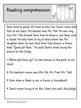 Early learning- reading comprehension worksheets