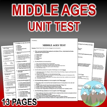 Middle Ages Unit Test / Exam / Assessment (World History)