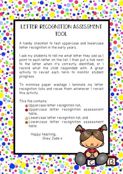 Early years EYLF letter recognition assessment tool
