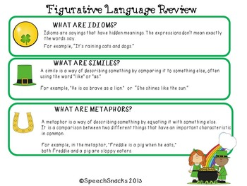 """Earn Some Green"" {Figurative Language Packet for Older Students}"