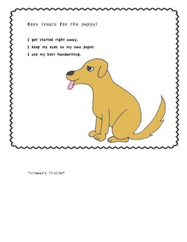 Earn treats for the Puppy! Behavior Chart