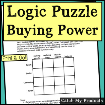 Logic Puzzle for Beginners (Earning Income or Financial Literacy)