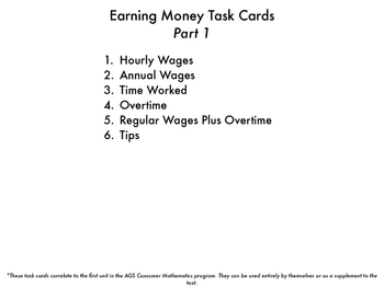 Earning Money Task Cards part 1