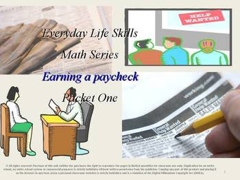 Earning a Paycheck: Everyday Life Skills Math Series: Packet One