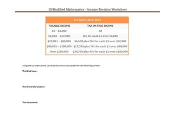Earning an Income Worksheet