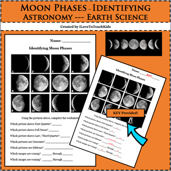 Earth Space Science Astronomy Identifying Moon Phases Acti