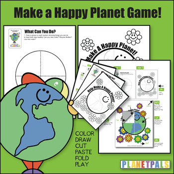 Earthday Activity Lesson Plan Craft Make A Happy Planet Color Cut