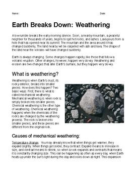 Earth Breaks Down: Weathering