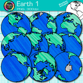 Earth Clip Art {Globes & Maps Showing All Hemispheres for Geography} 1