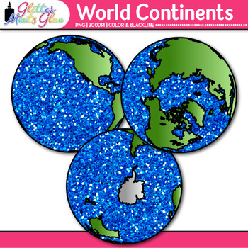 World Continent Clip Art {Globes & Maps Showing All Hemispheres for Geography}