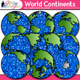 World Continent Clip Art {Globes & Maps Showing All Hemisp